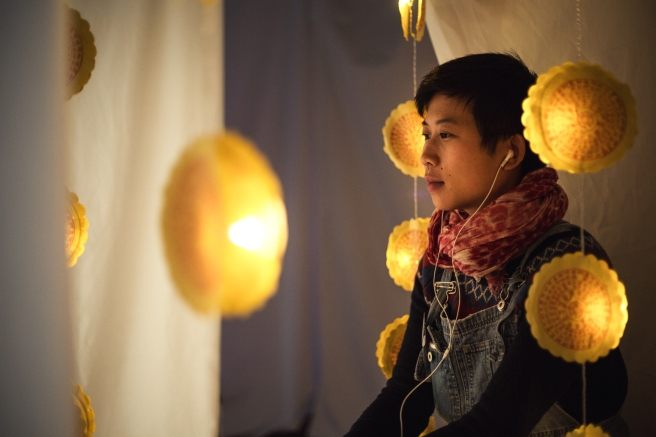 Rani Pramesti within her installation space 'Chinese Whispers' 2014