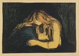 'Vampyr II' - painting by European Edvard Munch in 1902 showing line work and emotive parallels to Taring Padi