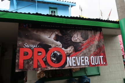 Surya Pro banner advertisement in the Warna Warni village, Malang (taken by Josepha Na 2018)